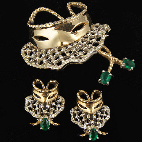 Reja Gold Pave and Emeralds Mask and Veil Pin and Clip Earrings Set