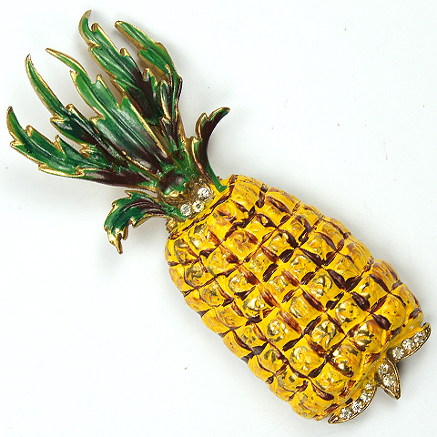 Reja Pave and Enamel Pineapple Pin Clip