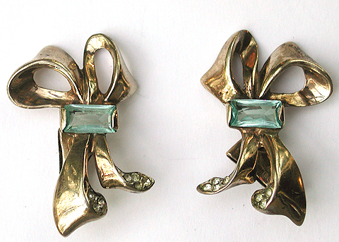 DeRosa Sterling Gold and Aquamarine Bow Clip Earrings