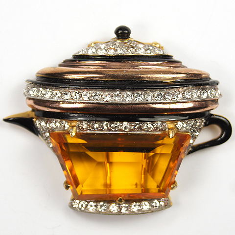 DeRosa Gold Pave Enamel and Citrine Trapezium Coffee or Tea Pot Pin Clip