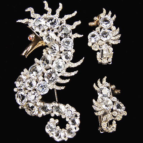 Reja Diamond Seahorse Pin and Clip Earrings Set