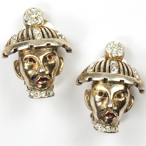 Reja Sterling Oriental Official with Moustache and Gold Hat Face Mask Clip Earrings