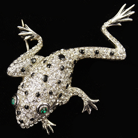 Reja Sterling Pave and Enamel Spots Climbing Emerald Eyed Tree Frog Pin
