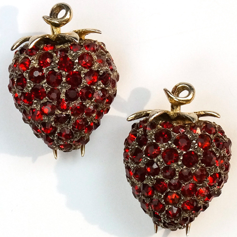 DeRosa Sterling Pair of Gold and Ruby Strawberries Scatter Pin Clips