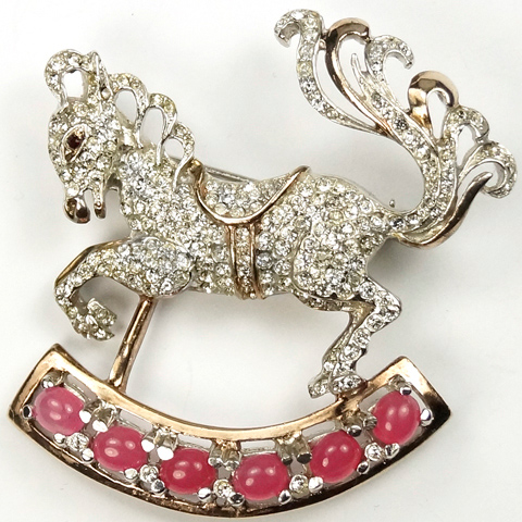 Reja Sterling Gold Pave and Pink Topaz Cabochons Rocking Horse Pin