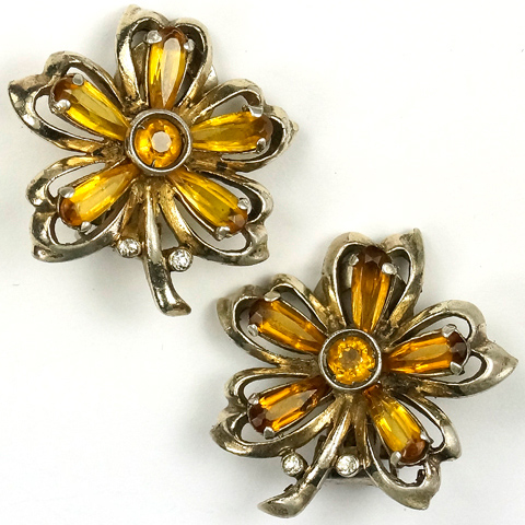 DeRosa Sterling Citrine Flowers Clip Earrings