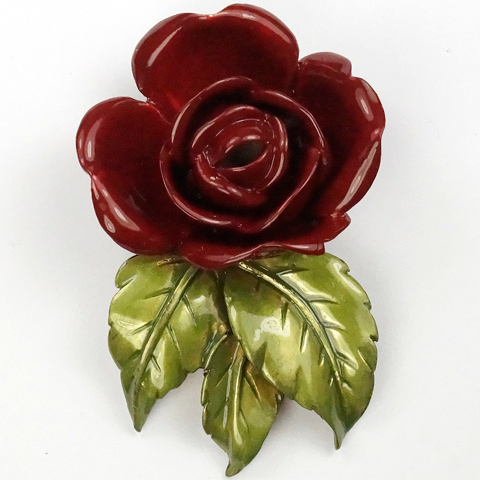DeRosa Sterling Red Rose and Metallic Enamel Leaves Pin Clip