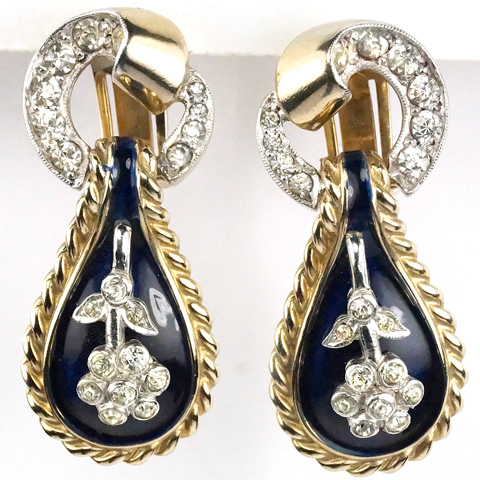 DeRosa Gold Pave and Blue Enamel Floral Motif Pendant Clip Earrings