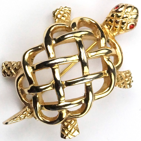 Reja Gold Openwork Miniature Turtle Pin