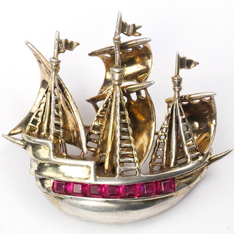 DeRosa Sterling Gold and Invisibly Set Rubies Three Masted Pirate Sailing Ship Pin