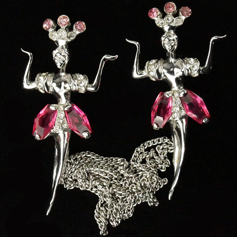 Reja Sterling and Kite Cut Pink Topaz Dancing Sprites Chatelaine Pins