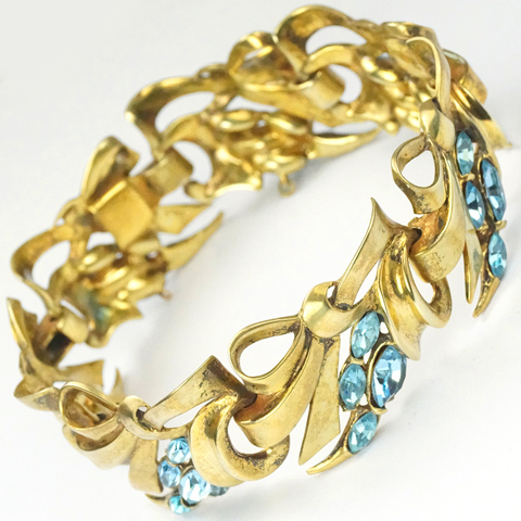 DeRosa (unsigned) Golden Bows and Aquamarine Sprays Bracelet