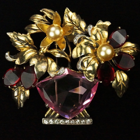 DeRosa Sterling Gold Pearls Hexagon Cut Pink Topaz and Kite Shaped Rubies Flower Basket Pin Clip