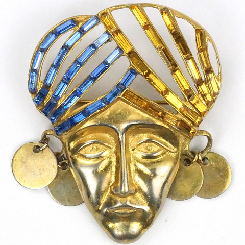 Deja Gold Baguettes and Multiple Disc Earrings  'Indian Mask' with Turban Pin