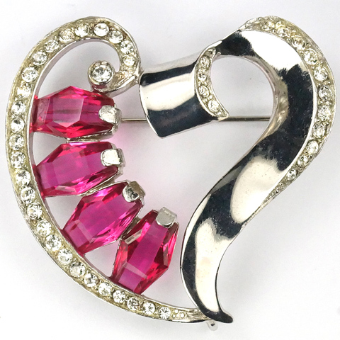 Reja (unsigned) Sterling and Kite Shaped Burmese Rubies Heart Pin or Pendant