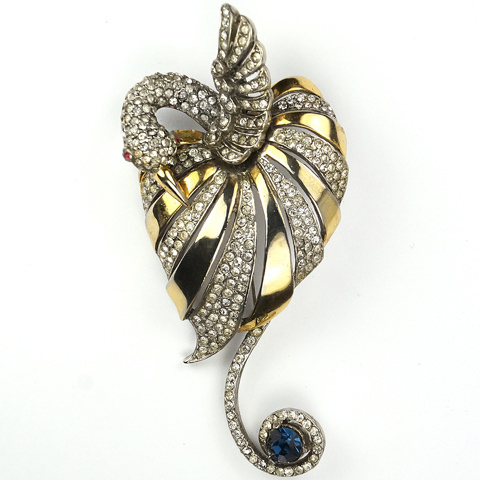 Reja Gold Pave and Sapphire Nestling Swan Pin