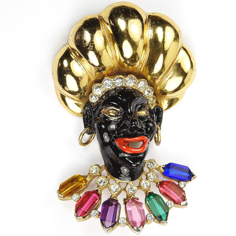Reja (unsigned) Gold Multicolour Stones and Enamel Blackamoor with Turban and Earrings Pin