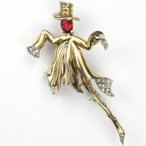 Reja Gold Pave and Ruby Scarecrow Pin