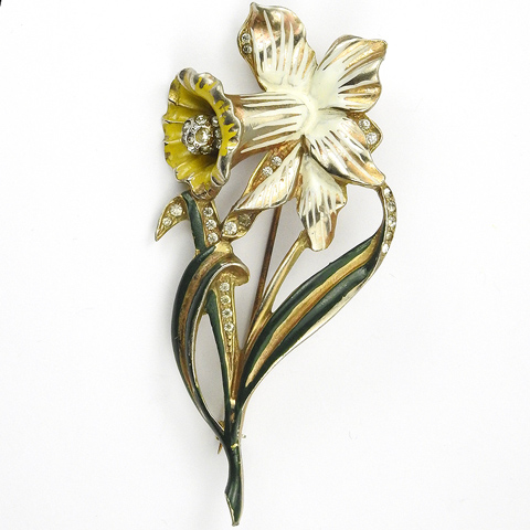 Deja Gold Pave and Enamel Daffodil Flower Pin