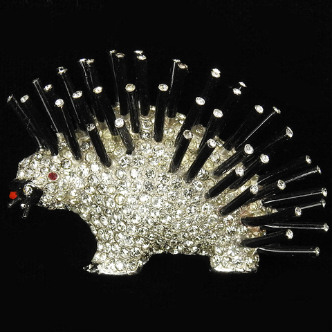 Reja Pave and Black Enamel Porcupine with Spines Pin