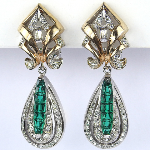 Reja Gold Pave and Invisibly Set Emeralds Pendant Teardrop Clip Earrings