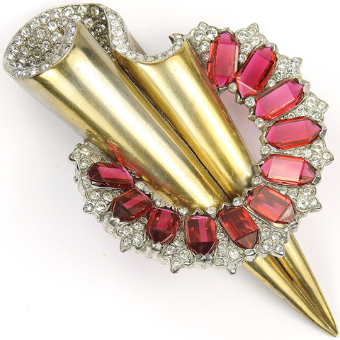 Reja Gold and Pave Swirl Deco Shaft of Light with Pave and Ruby Halo Pin
