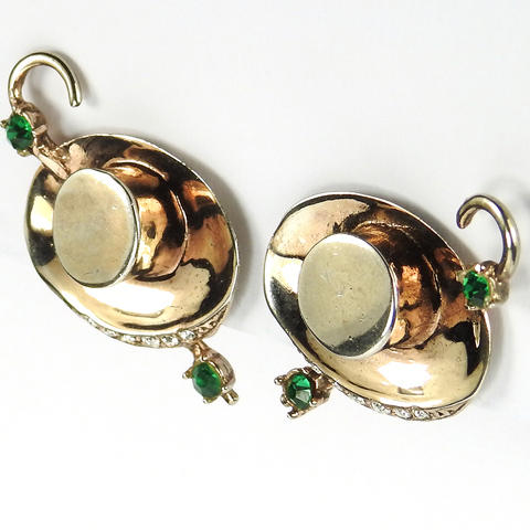 Reja Sterling Gold Pave and Emeralds Hat with Cane Clip Earrings