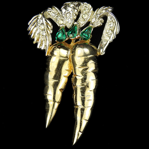 Reja Gold Pave and Emeralds Double Carrots Pin