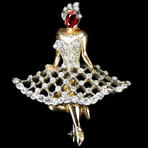 Reja Gold Pave and Ruby Large Ballerina Pin