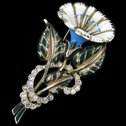 Deja Gold Pave and Enamel Morning Glory Flower Pin Clip