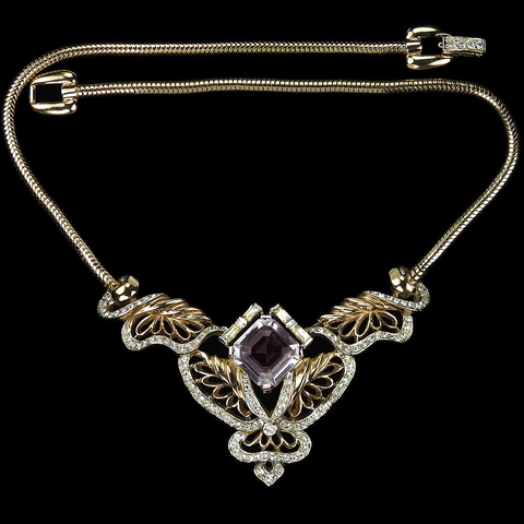 Reja Pale Amethyst and Golden Webs Choker Necklace