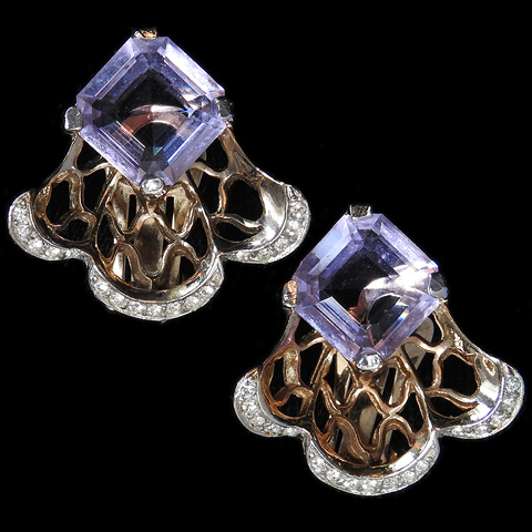 Reja Pale Amethyst and Golden Webs Clip Earrings