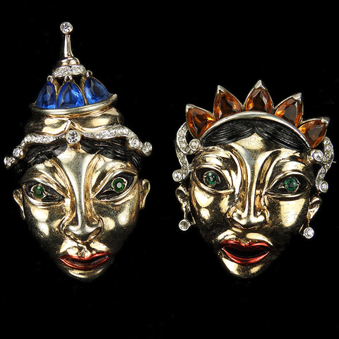 Reja Sterling Gold Pave Metallic Enamel Sapphires and Citrines 'Balinese Masks' Pair of King and Queen Face Mask Pins