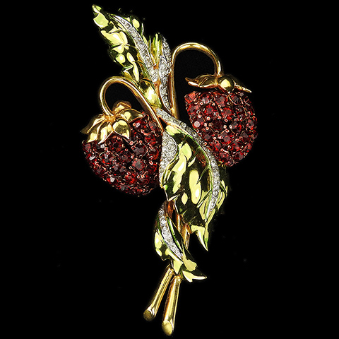 Castlecliff Gold Metallic Enamel and Rubies Two Strawberries with Leaves Pin