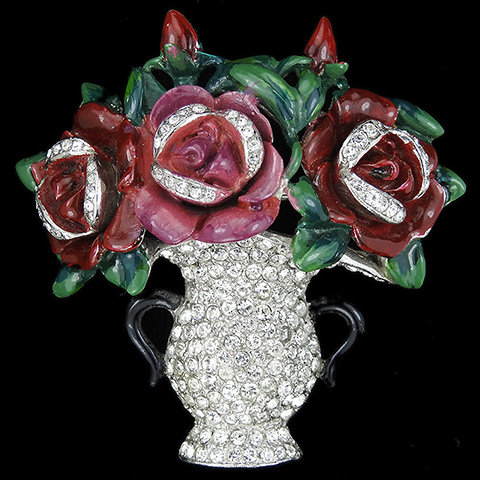 Deja Pave and Enamel Three Roses in a Flower Vase Pin