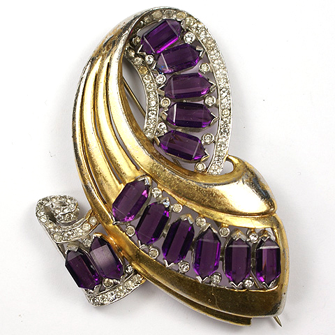 Reja Gold Pave and Amethysts Deco Swirl Pin