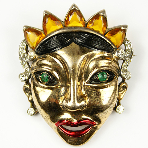 Reja Sterling 'Balinese Masks' Queen Face Mask Pin