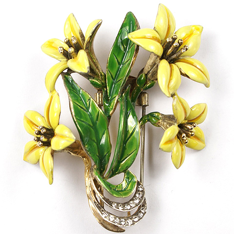 DeRosa Sterling Gold Pave and Enamel Yellow Lillies Floral Spray Pin Clip