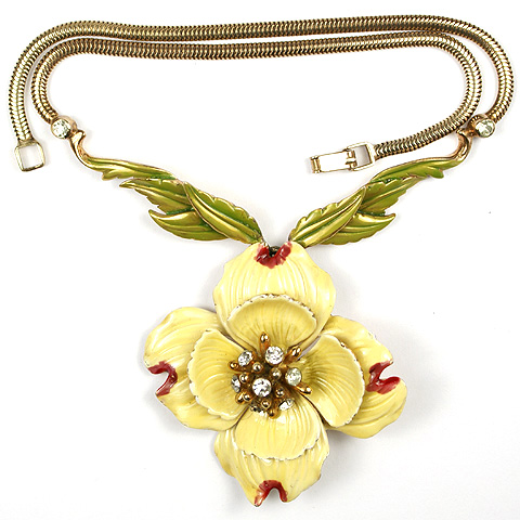 DeRosa Sterling Yellow Lotus Flower and Leaves Necklace