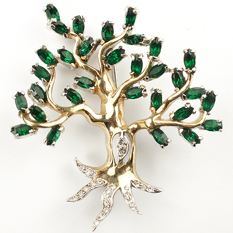 Reja Gold Pave and Emerald Leaves Oak Tree Pin