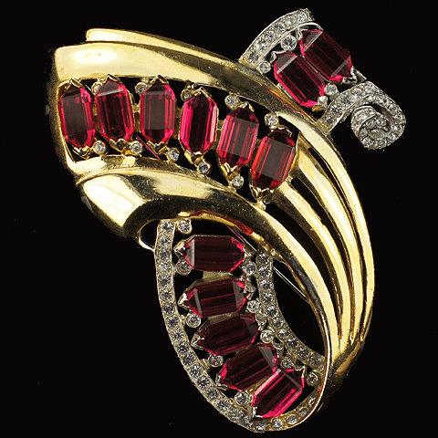 Reja Gold Pave and Rubies Deco Swirl Pin