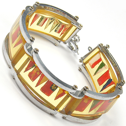Deco Silver and Catalin (Lucite) Painted Marine Flags and Pennants Bracelet