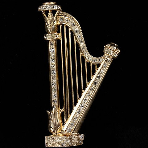 Gold and Pave Sterling Irish Musical Harp Pin