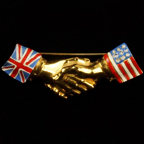 WW2 US and British Patriotic Gold and Enamel Union Jack and Stars and Stripes Handshake Pin