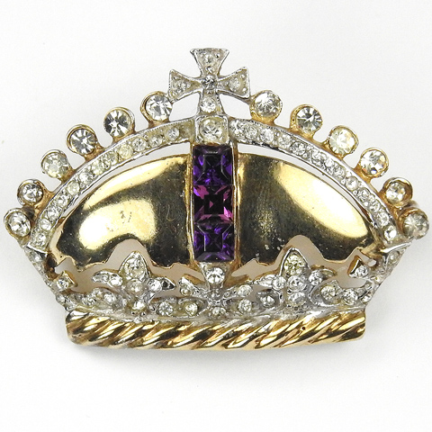 Sterling Gold Diamond and Amethyst French Crown Pin