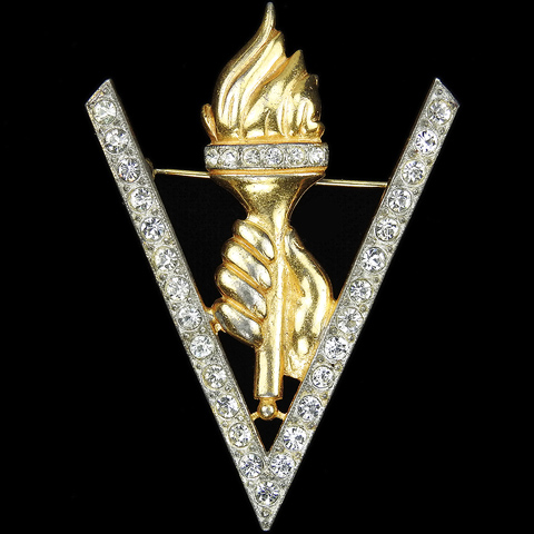 WW2 US Patriotic Gold and Pave Victory V with Hand holding a Torch of Liberty Pin