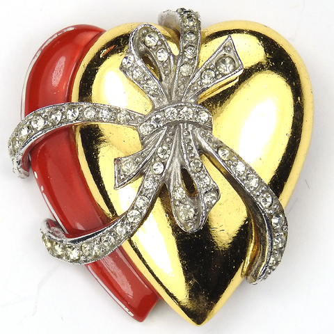 WW2 US Patriotic Gold and Red Enamel Two Hearts Bound Together by a Pave Bow Sweetheart Pin