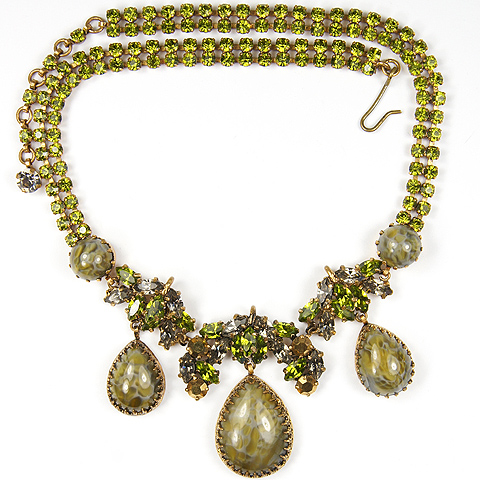 Schreiner (unsigned) Peridot Aurora Borealis and Venetian Glass Floral Necklace