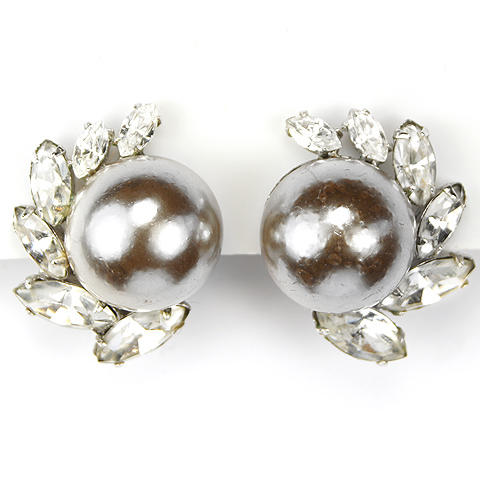 Christian Dior by Kramer Navettes and Mabe Grey Pearls Button Clip Earrings