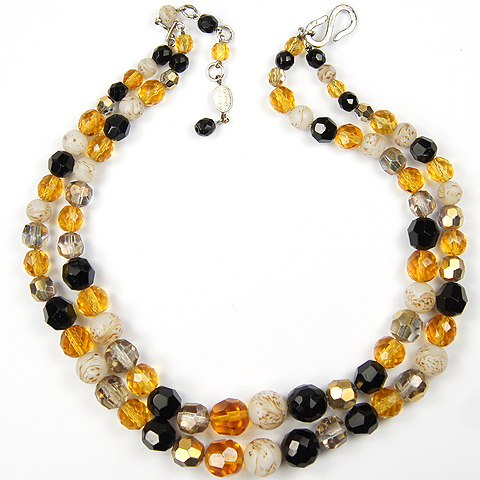 Christian Dior by Henkel and Grosse Citrine Onyx Aurora and Quartz Poured Glass Double Stranded Necklace